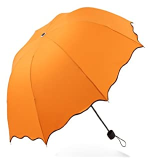 Dome Parasol Sun-rain Umbrella,triple Folding Ruffled Anti-uv Parasol (orange yellow)