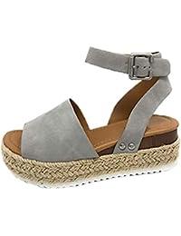 6c7b55804 Sandalias Mujer Verano 2019 cáñamo Fondo Grueso Sandalias Punta Abierta  Cuero Fondo Plano Zapatos Bohemias Romanas Hebilla Zapatillas…