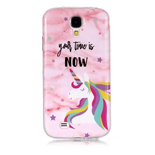 JEEXIA® Funda para Samsung Galaxy S4 (i9500) 5.0polgada, Suave Silicona TPU cáscara del teléfono Antideslizante Anti-caída Mármol Cubierta Protectora - Unicornio