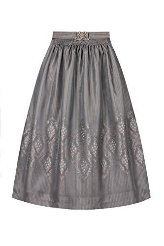 Lieblingsgwand Dirndlschürze midi 70er grau Silber Gemustert 008572, Elegante Dirndlschürze, Streifenmuster, Rosenmuster, antik verzierte Schürzenschließe S