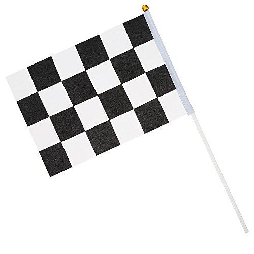 Zielflagge Rennflagge, 12 Stück Schwarz und Weiß Checkered Hand Markierungsfahnen Racing Polyester Flags mit Kunststoff Stick für Motorradrennen, Bars, Clubs, Partys, Geburtstage (14 * 21CM)