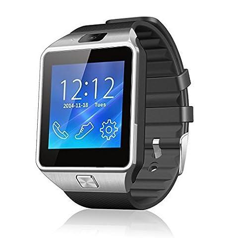 Netspower Neues Design DZ09 Bluetooth Smart Watch Wrist Wrap Watch Handyuhren Phone für Smartphone Android Samsung S3 / S4 / S5 Hinweis 2 / Note 3 Note 4, HTC, Sony (DZ09 Schwarz)