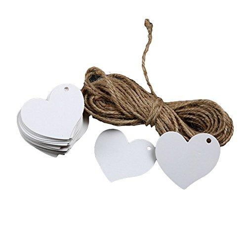 Gespout 100 Stück Herz Anhängeschilder Tags Hängeetiketten DIY Papieranhänger für Geburtstags Hochzeits Umbauten Zeremonie und Deko,Weiß(Ohne Seil)