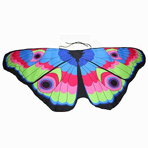 Krieger Kostüm Engel - WOZOW Damen Schmetterling Flügel Kostüm Nymphe Pixie Umhang Faschingkostüme Schals Poncho Kostümzubehör Zubehör (Mehrfarbig 3)