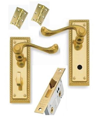 """Georgian Brass Lever Bathroom Door Handles + 64mm Bathroom Lock + 3"""" Hinges"""