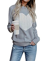 180ecc786a shermie Women Causal Heart Jumpers Cable Knitted Crewneck Cute Pullover  Sweater