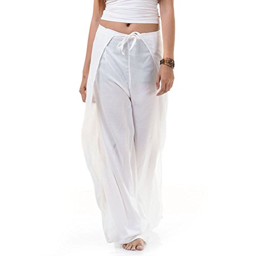 Thai Hose Wickelhose Hosenrock Wickelrock Weiß (Weiße Thai-yoga-hosen)