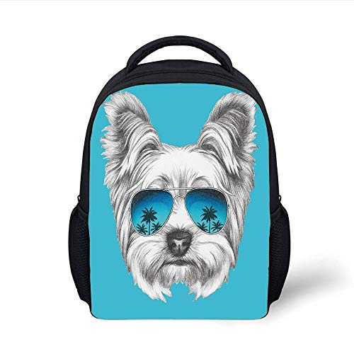 Kids School Backpack Yorkie,Yorkshire Terrier Portrait with Cool Mirror Sunglasses Hand Drawn Cute Animal Art,Blue White Plain Bookbag Travel Daypack