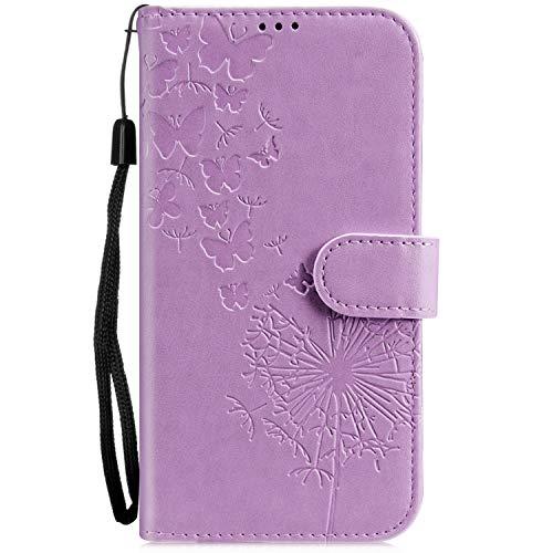 Galaxy S3 Hülle, Samsung Galaxy S III Neo Handyhülle Retro Muster PU Leder mit Handschlaufe Brieftasche Wallet Case Schutzhülle Tasche + 1 x Hpory Stylus - Löwenzahn Lila ()