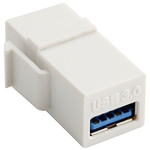 Preisvergleich Produktbild USB 3.0 Buchse auf Buchse Modular Einbau Kopplung Adapter Fuer Wandplatte Weiss