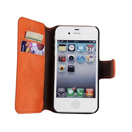 MOONCASE Rétro Coque en Cuir Portefeuille Housse de Protection Étui à rabat Case pour Apple iPhone 6 (4.7 inch) Orange Orange