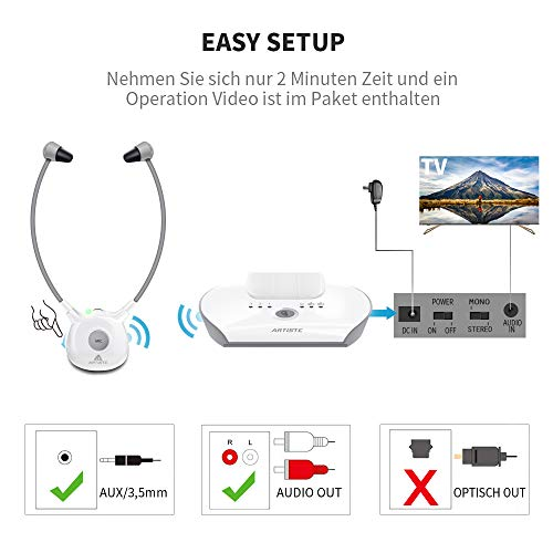 Artiste APH100 Digitale Wireless Hörgerät-Kopfhörer für alle Audiogeräte (Inkl. Wireless Sender und 2er Pack Akkus) - 3