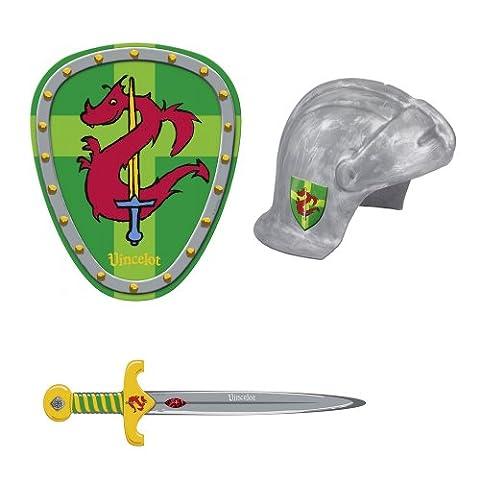 Ritter Vincelot 3er Kostüm-Set Helm 21612 & Schwert 21613 & Schild 21614 (Ritterschild Kostüm)