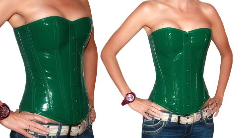 loveorama.de Zoelibat Lack Corsage Korsett in grün mit Strapse Größe XL