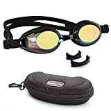 BEZZEE PRO Kids Swimming Goggles with 3 Adjustable Nose Bridge, Mirror Coated Colour