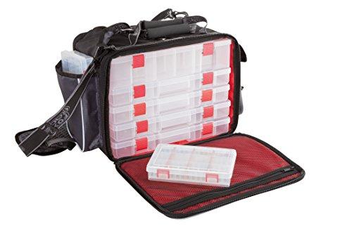 Fox Rage Voyager Large Stacker, Angeltasche inkl. 7 Angelboxen / Tackleboxen, Anglertasche zum Spinnfischen, 48x30x24cm, Fox Tasche