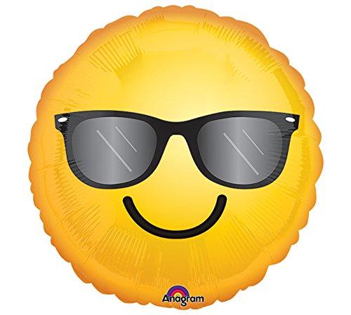 Unbekannt 1 Folienballon Smiley mit Sonnenbrille gelb 43 cm ungefüllt Ballongas geeignet