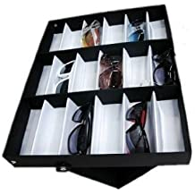 Amzdeal Caja para gafas de sol, Organizador para gafas de sol, Caja de exposición para 18 sunglass, Almacenamiento de gafas, joyas y relojes