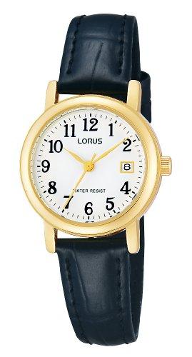 Lorus RH764AX9-Women's Quartz Analogue Watch-Black Leather Strap