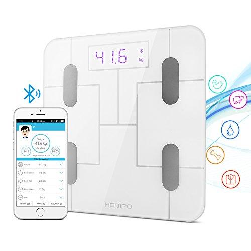 Pèse Personne Impédancemètre, HOMPO Balance Connecté / Pèse-Personne Bluetooth, Mesure du Poids, Graisse, Masse Musculaire et Osseuse, Eau, Ecran Rétroéclairé, Pour IOS Android, Bluetooth 4.0 Plus