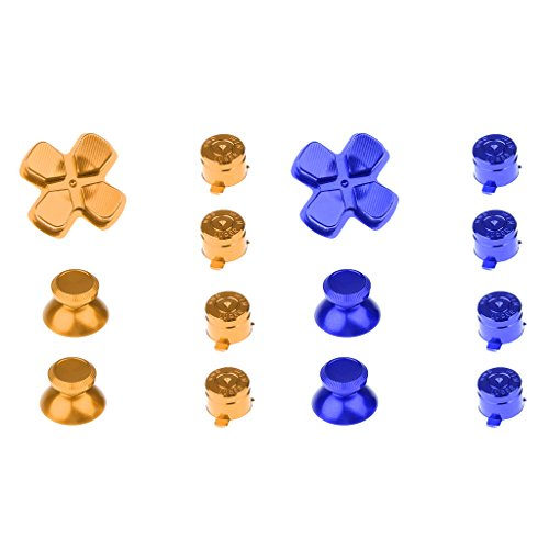MagiDeal 2Pieces Replacement Metal ABXY Buttons+Thumbsticks Chrome D-pad Mod Set for Sony PS4 Game Pad Console Mod Kit