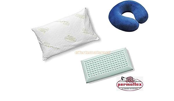 Cuscini Permaflex.Cuscino Permaflex Caramella Collare Blu In Memory Foam Guanciale