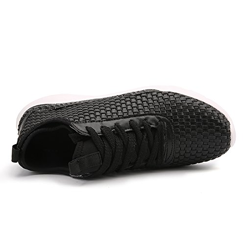 JEDVOO Scarpe da corsa Ginnastica Outdoor Basse Sportivo Running Basket Sneakers Casual Uomo Nero/Bianco