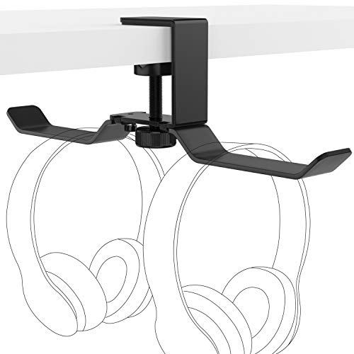 MoKo Multifunctional Metal Holder, Universal Aluminum Over-Ear Headphone Hanger Headset Stand Gadgets Mount with Adjustable Clamp for Beats, Sony, Gaming Headphones, Black Universal-single Speaker-mount
