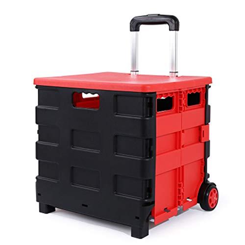 Alter Kunststoff Tragbare Wagen Mit Einem Zusammenklappbaren Wagen Auto Supermarkt Lebensmittel Picknicktasche Mobiler Gepäckwagen Zu Kaufen (Color : B)