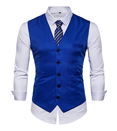 FLYF Herren Anzug Kleid Westen Slim Fit Formale Smoking Weste mit Blau Gestreiften Krawatte - Herren-weste-kleid