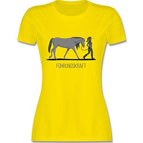 Reitsport - Führungskraft - tailliertes Premium T-Shirt mit Rundhalsausschnitt für Damen Lemon Gelb