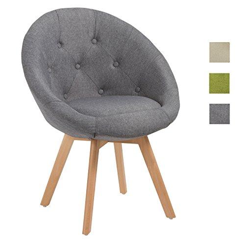 Duhome Stuhl Esszimmerstuhl Grau Küchenstuhl mit Holzbeinen Sessel Retro Stoffbezug Farbauswahl 509G (Retro Küchenstuhl)