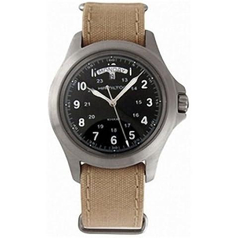 Hamilton H64451333 - Reloj analógico de caballero de cuarzo con correa textil beige - sumergible a 50