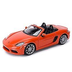 Taoke Car Model 1:24 Porsche 718 Boxster Simulation Alloy Die-casting Toy Ornaments Sports Car Collection Jewelry 18.5x8x4.6CM (Color : Orange) (Color : Orange)