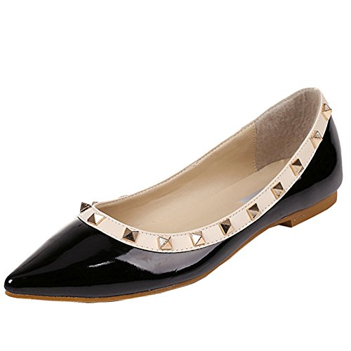 OCHENTA da donna punta in pelle PU Rivetto Slip On Ballet Flats, Nero (nero), 39 EU