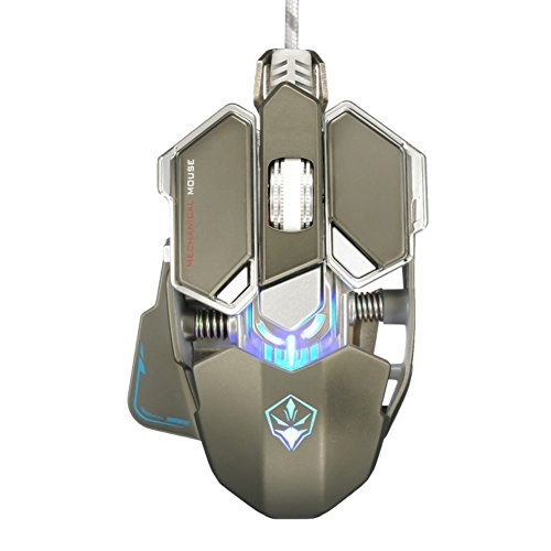 Yusun 4000 DPI 10 Tasten LED optische USB Wired Professionelle Gaming Maus Mäuse (grau) - Wheel Usb Wired Optical Mouse