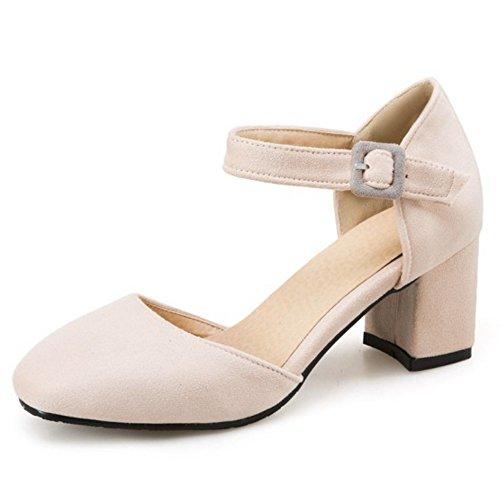 COOLCEPT Damen Mode Knochelriemchen Sandalen Blockabsatz Geschlossene Schuhe Gr Beige
