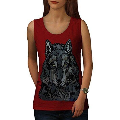 Alt Wolf Tier Auge Tier Einsam Starren Damen Schwarz S-2XL Muskelshirt | Wellcoda Rot