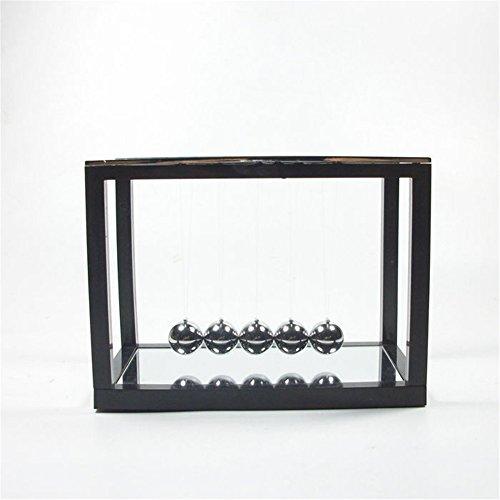 PROW® Newtons Wiege mit Spiegel Metal Pendel Bälle Swing Ball Spaß Kreativ Lehre Spielzeug (Schwarz)