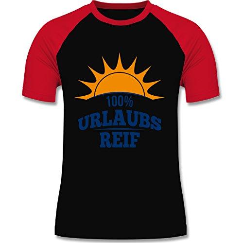 Urlaub - Urlaubsreif - zweifarbiges Baseballshirt für Männer Schwarz/Rot