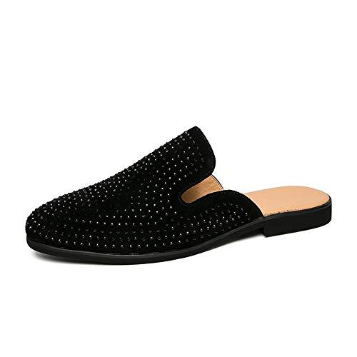 BBTK Hausschuhe Eine Halbe Geschleppte Schuhe Männer Casual Sandalen Reine Farben Black Diamond Decor (Weißer Diamant Ist Optional) (Color : Balck with Black Diamond, Größe : 43 EU) -