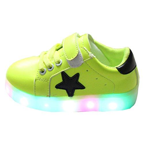 Highdas Jungen Mädchen Leder Prewalker Light Up Schuhe Green