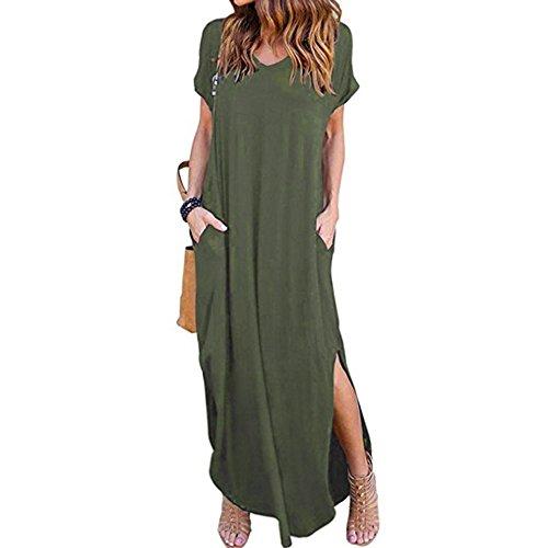 Damen Strandkleid Sommer Kleid Lässig Große Groß Kleider Womens Locker Sommerkleid Einfach Dress Elegantes Partykleid Minikleider Blusenkleider