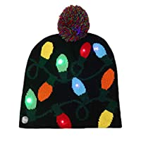 uyfrtdredswes 1PCS Christmas Beanie Ugly Christmas Sweater Christmas Hat Beanie Light Up Knitted Hat for Children Adult Christmas Party