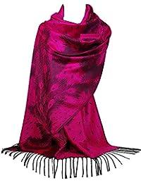 GFM® Sciarpa di stile Pashmina di disegno della piuma del pavone (Pckpash)