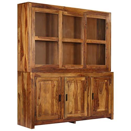 Tidyard Highboard Sheeshamholz Massiv 180 x 45 x 200 cm massiv Möbel geölt Massivmöbel Holz massiv Nature Brown