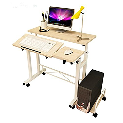 Ybaymy 60*80cm Folding Adjustable Computer Table Desk PC Workstation with Wheels--Weiß Ahorn