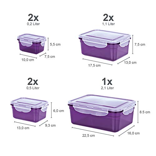 GOURMETmaxx 02914 Frischhaltedosen Klick-it, 14 Teile, Geeignet für Mikrowelle, Gefrierschrank und Spülmaschine