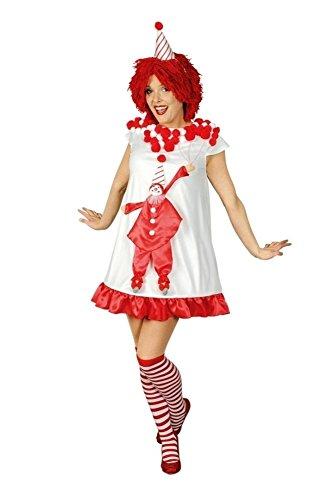 KARNEVALS-GIGANT Clownkleid rot-weiß für Damen | Größe 36/38 | 1-teiliges Clown Kostüm mit Hut | Pennywise Faschingskostüm für Frauen | Clownkostüm für Karneval