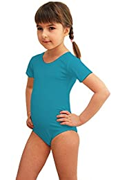 Mädchen Ballettanzug Kurzarm Body Gymnastikanzug Turnanzug Ballett Trikot Tanz Gymnastik